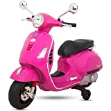 BAYBEE Baby Scooter Officially Licensed Vespa Battery Operated Ride On Bike With MP3/USB/TF Music | Headlights With 35kg In Weight- Pink