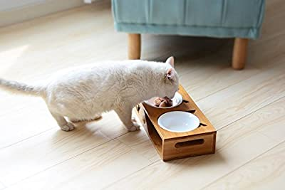 Bamboo Elevated Pet Feeder, Tarye Raised Pet Feeder Solid Bamboo Stand Perfect for Cats and Small Dogs from Tarye