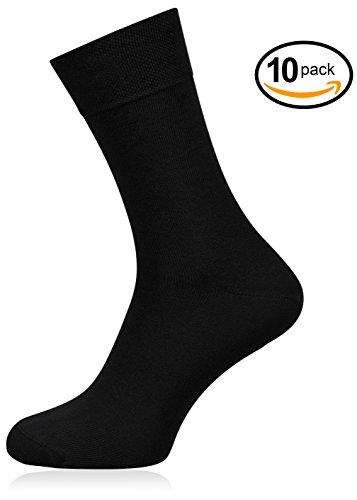 Prime Socks Dailies   10 pares de calcetines negros para mujer y caballero   calidad de marca   de algodón valioso   para trabajo y tiempo libre