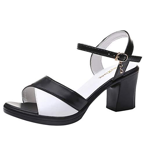 Floweworld Damen Mid-Heel Sandalen Sommer Square Heel Peep Toe Schuhe Casual Fußkettchen Schnalle Party Sandalen -