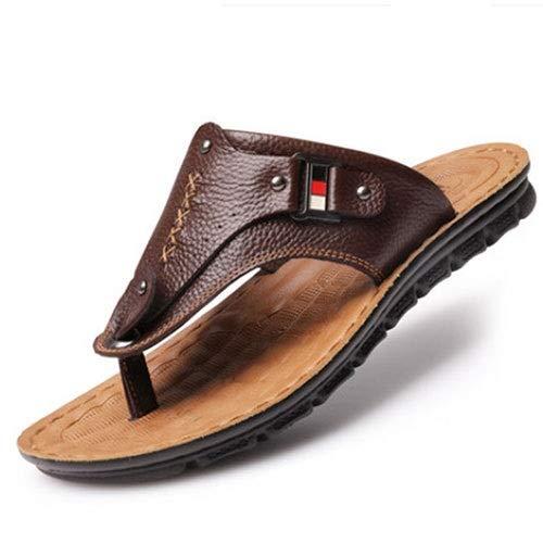 Tianre Sandalen Stilvolle Thong Flip Flops Herren Ultra Comfort Slippers mit Arch Support for Flat Feet und Plantar Fasciitis Fersensporn Echtleder Schuhe -