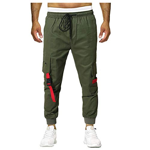 Cuff Trainingshose (Mymyguoe Männer Casual Slim Fit Lange Trackpants Jogger Hose Jogginghose Herren Trainingshose Jogging-Hose Jogger Slim Fit Stretch Lange Sports Cargo Hosen Activewear Hosen [Armeegrün,L])