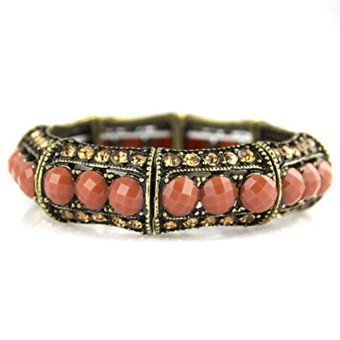 Jeweled Glam Bracelet - Dusty Peach Rose Faux Gems - Stretch Bangle