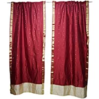 Mogul Interior 2 Indian Silk Sari Curtains Maroon Rod Pocket Boho Home Decor Door Panel 96X44