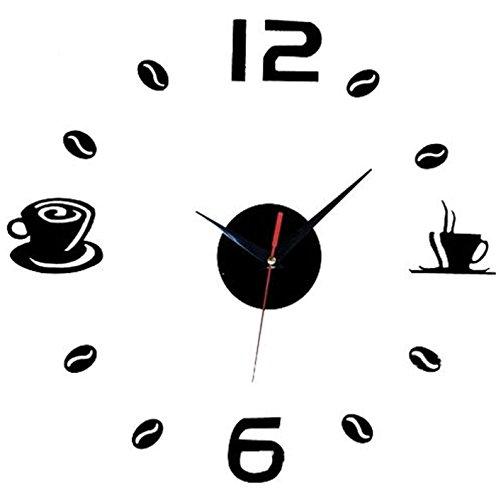 Aliciashouse Grande Orologio da Parete Wall Sticker Fai Da Te Per Caffè Tazza da Tè Numero Clock Home Cafe Decor -Black