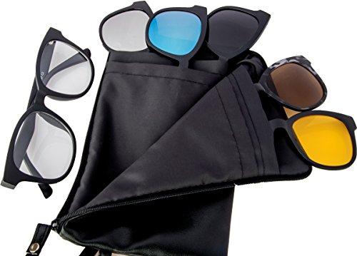 REACTR- Polarised 5-in-1 Magnetic Clip on Sunglasses Plus Frame (UNISEX|ELMS004|Medium|53|Magneto)