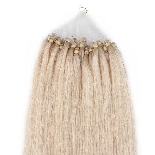 Beauty7 Remy Hair 100 Extensions de Cheveux Loop Anneaux Microring Humain Poids 50 gramCouleur #60 Blond (60cm)