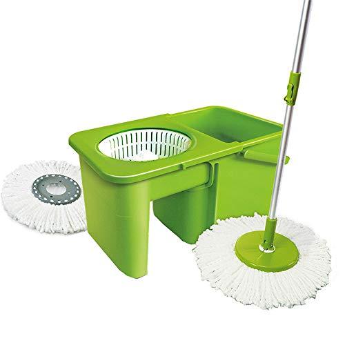 Qnjm secchio di spin mop   mop da 360 gradi in acciaio inox con 2 testine in microfibra, cesto asciugabiancheria facile da pulire