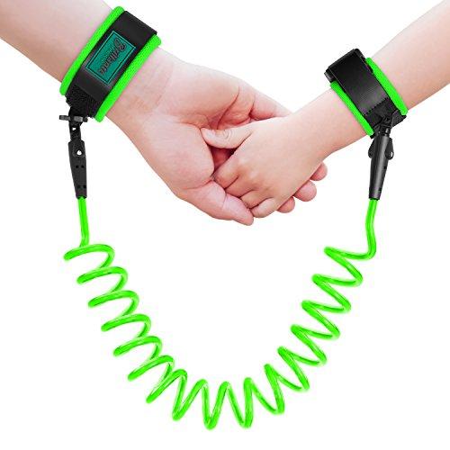 Anti verlorene Handgelenk Link Kindersicherheits Armband Geschirr Bügel Seil Leine für Kleinkinder, Babys, Kinder, 1,5M (Grün)