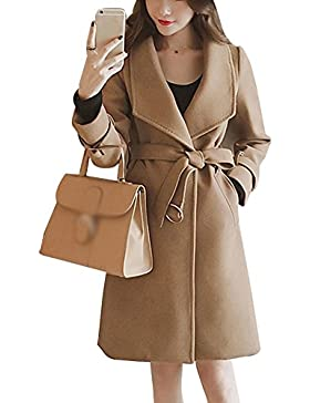 Donna Sottile Inverno Giacca Lunga Cappotto Manica Lunga Elegante Trench Coat Parka Outwear