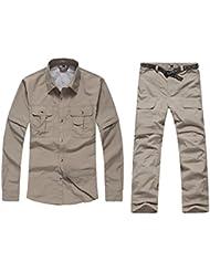 GITVIENAR Set de Vêtement et Pantalon Homme à Séchage Rapide à 2 Moyens Habillés Respirant pour Camping VTT Travail Activités Exterieurs