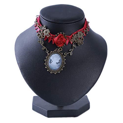(JOYfree Spitze Halskette Retro Palace Weinrot Rose Vine Kette Elegante Choker Künstliche Edelstein Übertreibung Anhänger Für Party Urlaub)