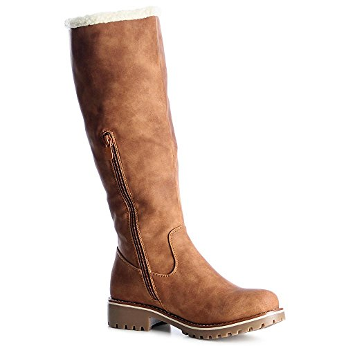 Topschuhe24 1018 Damen Stiefel Boots Stivaletti Cammello