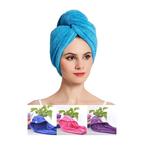 Bellbird Fab Hair Wrap Towel For Women Absorbent Microfiber Cotton (Pack of 2, Multi Color, Free Size)