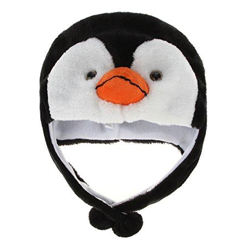 Gorro de Piel Unisex Mujere Niñas Niños PingÜIno Sombrero de Animal de Halloween CÁLido Sombrero Juguete de Peluche Navidad Felpa Cubierta de Oreja Orejera