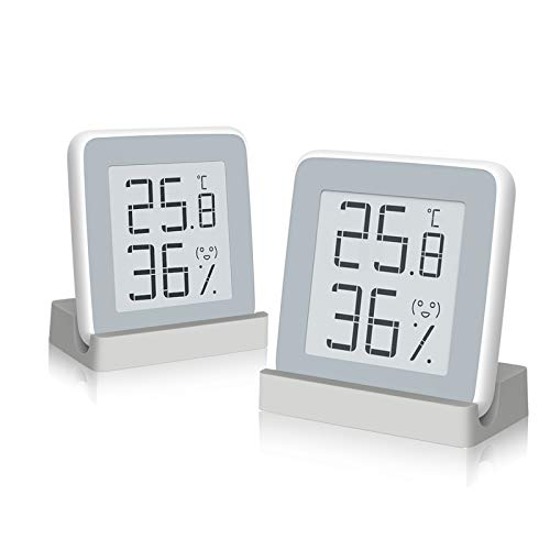 Homidy 2er Pack Hygrometer Digital Thermometer Innen,E-Ink Display Digital Thermo-Hygrometer innen,Schweizer hochpräzise Sensirion Digitalsensoren für Innenraum(Xiaomi Ökologischen Kette Unternehmen)