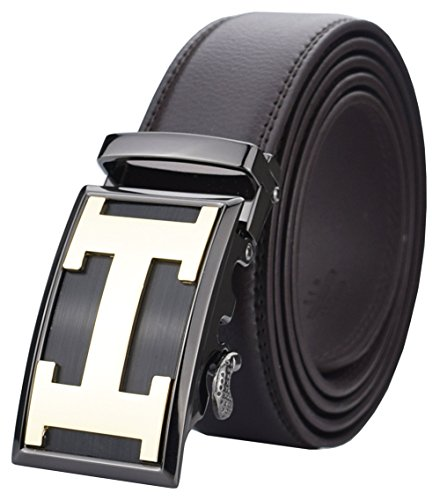 QISHI YUHUA PD Mens Casual Business Leather Belts Ratchet Belts Test