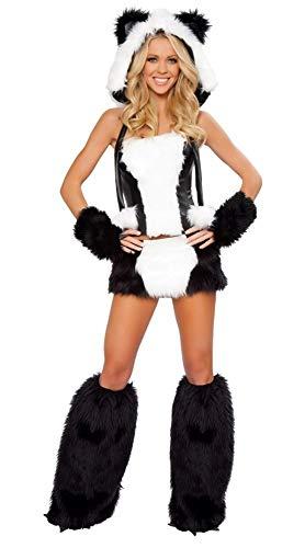 shoperama Fell-Kostüm SEXY Panda mit Rock Gr. XS Damen Verkleidung Pandabär Tierkostüm (Roma Katze Kostüm)