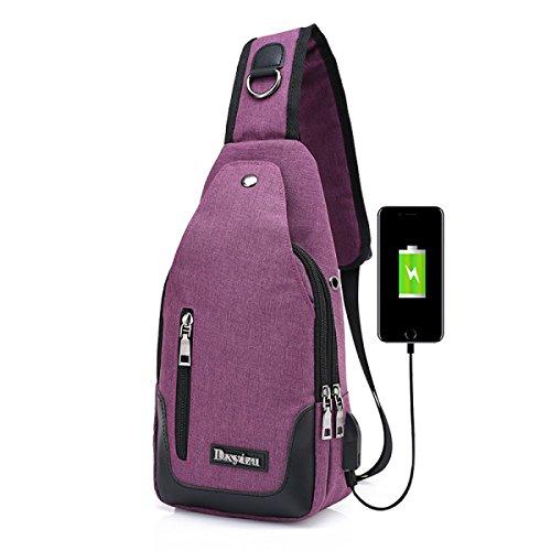 BULAGE Brusttaschen Rucksäcke Männer Taschen Leinwand Laden über USB Koreanische Beiläufige Männer Und Frauen Bequem Brust- Schulter- Messenger Purple