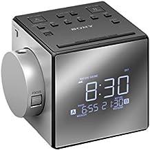 Sony ICF-C1PJ - Radiodespertador con proyector (FM/AM, alarma dual, mono), plateado