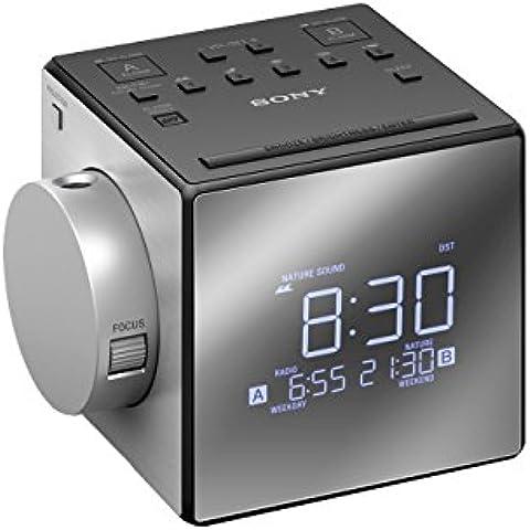 Sony ICF-C1PJ - Radiodespertador con proyector (AM/FM, alarma dual, mono), plateado