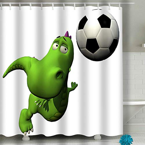 Bathroom Shower Curtain Set with Hooks - Spa, Hotel Luxury, Water Repellent 60x72 INCH Football Soccer Player flyind Head Baby Dragon Dra - Bed Head Player