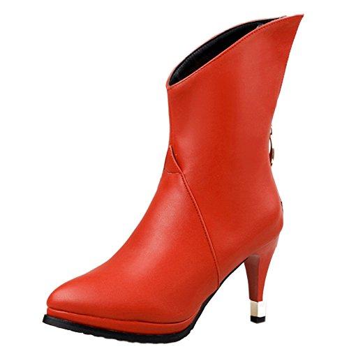 Damen Kurzschaft Stiefel Stiletto Spitze Reißverschluss Sexy Klub Mittelhoch High Heels Warm gefüttert Rot