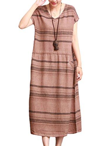 MatchLife Damen Stripe Drawstring Sans Manche Robe Rouge