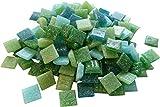 Fliesenhandel Fundus 1 Kg Glasmosaik 1x1cm Premium Qualität - ca.1500 Stück Glasmosaiksteine 10x10 Mosaiksteine (Grün Mix)