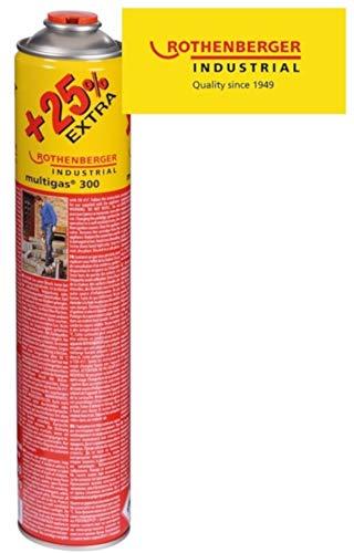 ROTHENBERGER Industrial Multigas Jumbo 300 Gas Schraubkartusche + 25% mehr Inhalt , Anschluss: 7/16