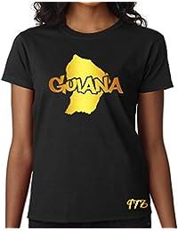T-shirt Femme Guyane 973 Guiana Noir et Or Métallisé