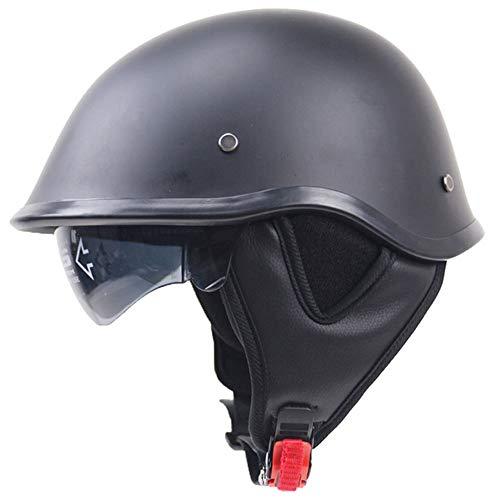 Moto Helmets-Braincap Wehrmacht Stahl Halbschalen Motorrad Vespa Roller Jet Bobber Helm Pilot Cruiser Vintage Moped Chopper Helm Biker Retro DOT Zertifiziert,M -