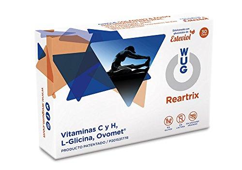 WUG Reartrix Chicle   Salud Articular, Lesiones Articulares, Vitaminas C/H, Sabor Menta, 30 unidades