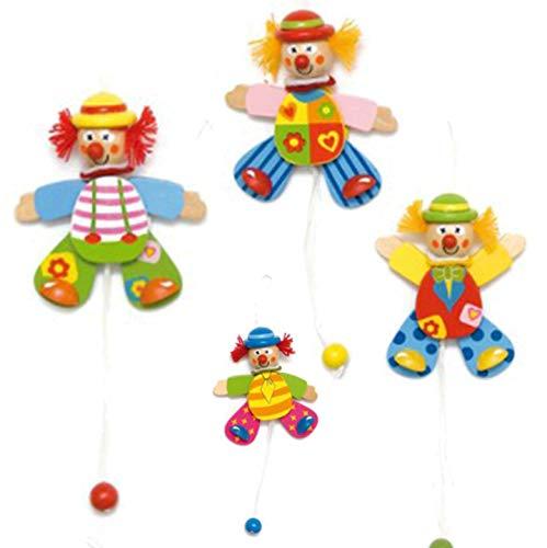 alles-meine.de GmbH Hampelmann aus Holz - Hampelfigur Figur - lustiger Clown Holzhampelmann - Kinderland / Hampelfigur