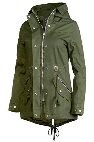 Trisens Damen Jacke ÜBERGANGSJACKE Trenchcoat Kapuze 100% Baumwolle LEICHT KURZ, Größe:S, Farbe:Olive - 3