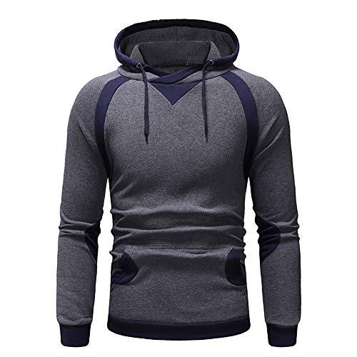 IZHH Herren Pullover, FrüHling Und Winter NäHte Farbe Pullover Top Color Patchwork Sweatshirt Outwear Bluse(Dunkelgrau,2XL) -