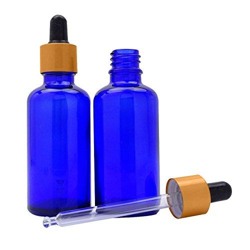 6 pièces vide cobalt verre bleu huiles flacons compte-gouttes de l'oeil d'aromathérapie mat or bouteilles de lettrine de pipettes gros flacon de sérum rechargeable de gouttes de verre de 50 ml