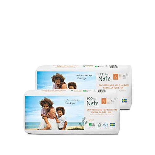 Eco by Naty Premium Bio-Windeln für empfindliche Haut, Größe 5, 11-25 Kg, 2 Packungen à 40 Stück (80 Stück insgesamt), weiß - 2