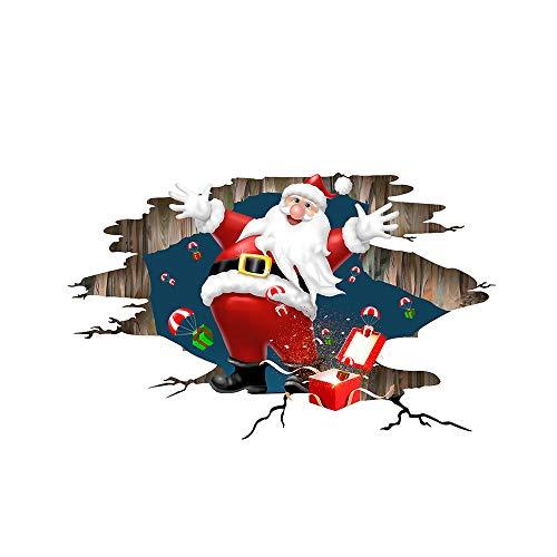 Elecenty Natale Vetrofanie,3D Santa Claus Dà i regali rimovibili Wall Sticker Wall Decorazione Natalizia per Casa Camerette Salotto Fai Da Te
