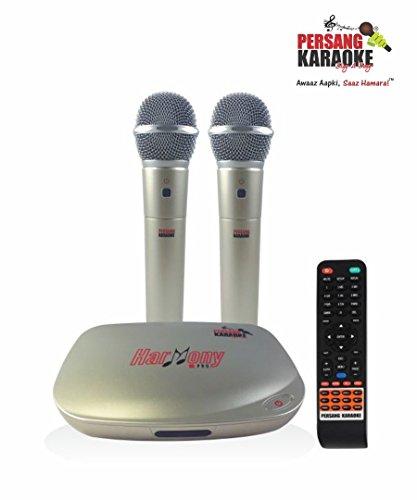 Persang Karaoke Mikes and Harmony Pro PK-8167 Dual Wireless Karaoke System, Golden