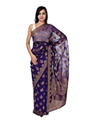 A1 Fashion Women Silk Purple Saree With Blouse Piece