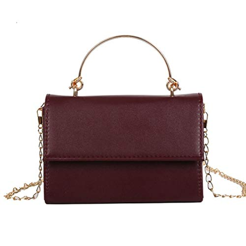 Chain Handle Bag (Women Small Square PU Leather Bag Metal Handle Chain Shoulder Bag Chain Bag Wine Red)