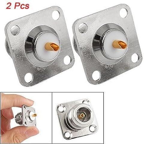 SODIAL(R) 2 x Adaptador Conector PCB N Hembra Panel de Enchufes