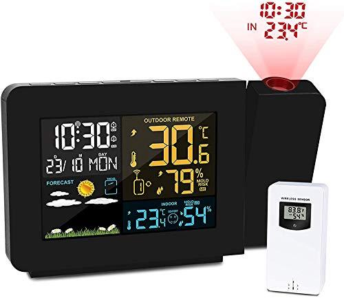 YPSMJLL Estación Meteorológica Personal En El Dormitorio Reloj Despertador De Proyección con Sensor...
