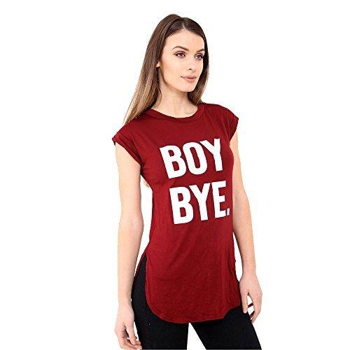 Damen Rundhals Junge Bye bedruckt gekrempelt T-Shirt kurzärmlig Top Kleid  Wein