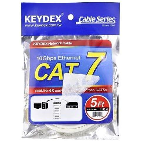 keydex 5ft cat7SSTP chapados en oro de 600MHz Snagless Patch Red LAN Ethernet Cable–Blanco