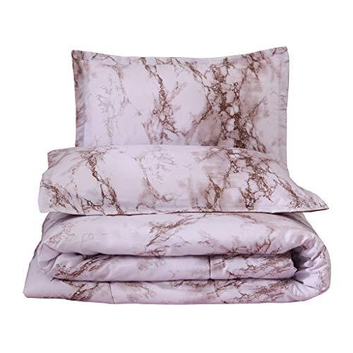 Dtuta Fortschrittlicher Marmor KissenbezüGe Bettlaken Set Ganzjahr BettwäSche BettbezüGe Warme Farbe, Gelblich