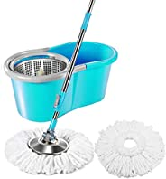 Sasimo Spin Mop for Cleaning Floor with Easy Wheels and Bucket with 2 Refills (46x26x23 cm; Blue)