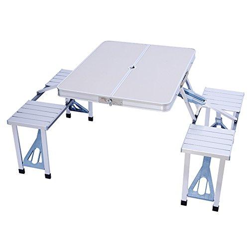 LVZAIXI Table Pliante portative de Camping, Partie en Aluminium d'alliage d'aluminium Partie de Pique-Nique de BBQ de Jardin Partie des selles réglées (Couleur : Blanc)