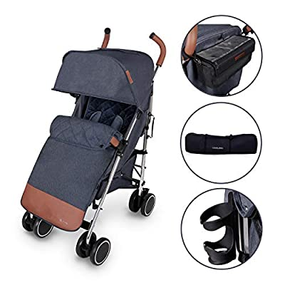 Ickle Bubba Baby Strollers | Lightweight Stroller Pushchair | Compact Fold Technology for Easy Transport and Storage | UPF 50+ Extendable Hood | Discovery Prime, Denim Blue/Silver